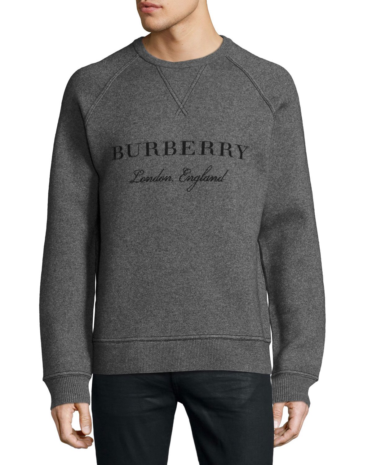 Belsford Wool-Cashmere Logo Sweatshirt, Gray