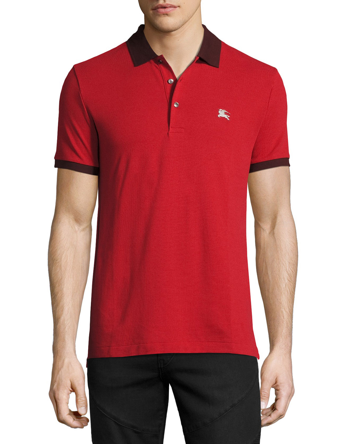 Camberwell Contrast-Trim Cotton Piqué Polo Shirt, Dark Red