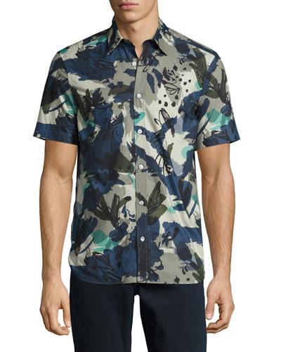 Evertons Graffiti Camouflage Short-Sleeve Sport Shirt, Navy
