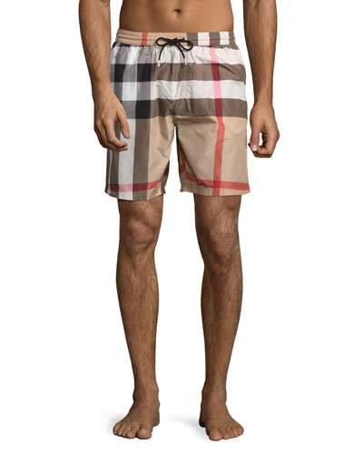 Gowers Check Swim Trunks, Camel