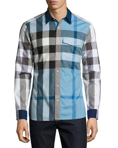 Clandon Check Sport Shirt, Sky