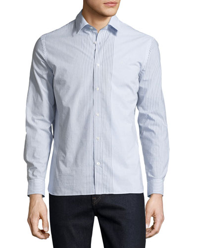 Cartmel Mixed-Stripe Sport Shirt, Light Blue