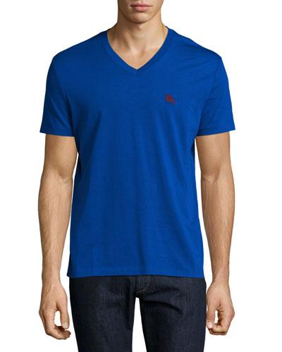Lindon Cotton V-Neck T-Shirt, Royal Blue