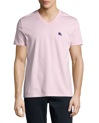 Lindon Cotton V-Neck T-Shirt, Light Pink