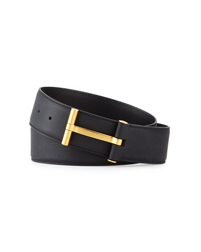 T-Buckle Calf Leather Belt