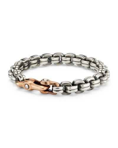 Men's 9.5mm Sterling Silver & Bronze Anvil Chain Bracelet