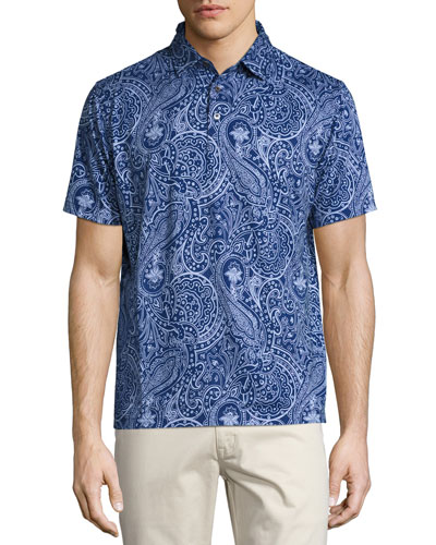 Crown Soft Paisley Polo Shirt, Navy