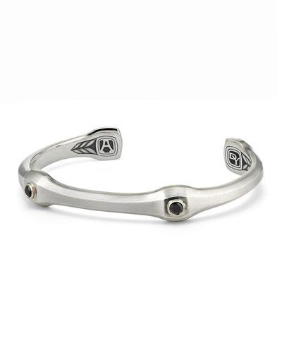 Men's 10.5mm Anvil Cuff Bracelet with Black Diamonds