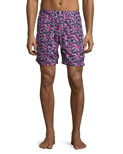 Koi Pond Swim Trunks, Navy/Pink