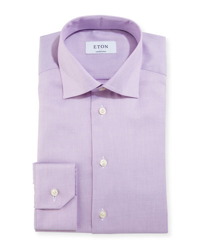 Contemporary-Fit Textured Solid Dress Shirt, Raspberry