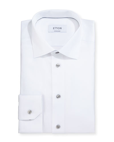 Contemporary-Fit Textured Solid Dress Shirt, White