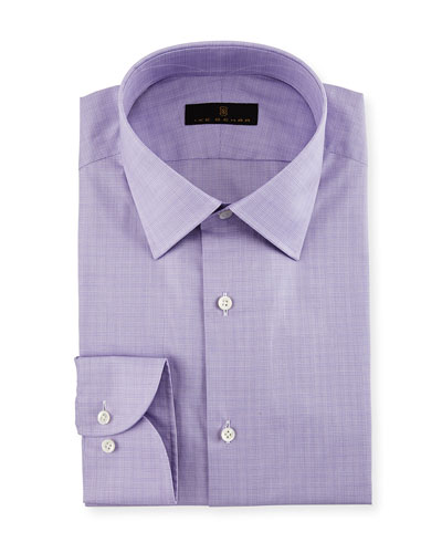 Gold Label Micro-Glen Plaid Dress Shirt, Lavender
