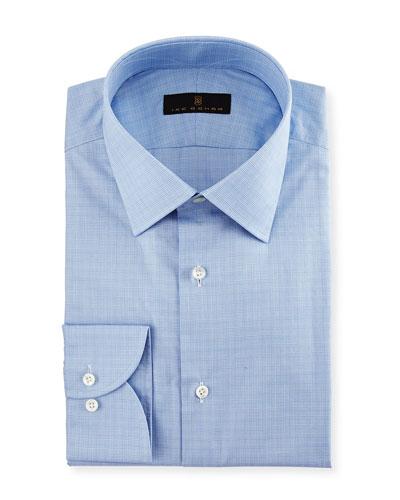 Gold Label Micro-Glen Plaid Dress Shirt, Blue