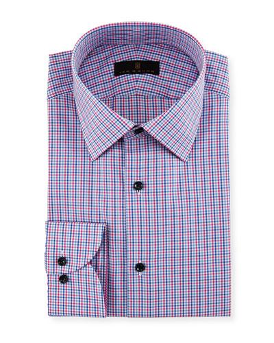 Gold Label Micro-Check Cotton Dress Shirt, Blue/Pink