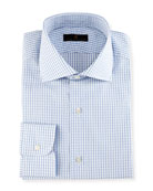 Gold Label Windowpane Check Dress Shirt, White/Blue