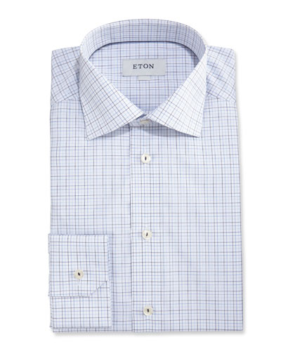 Slim-Fit Grid Check Dress Shirt, White/Navy Blue