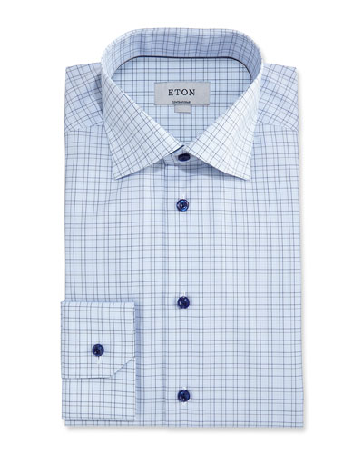 Contemporary-Fit Grid Check Dress Shirt, Light Blue/Navy