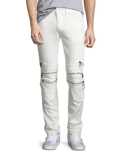 Chain Biker Skinny Jeans, White