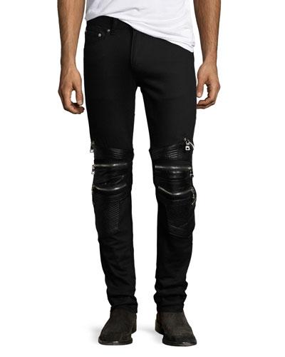 Chain Biker Skinny Jeans, Black