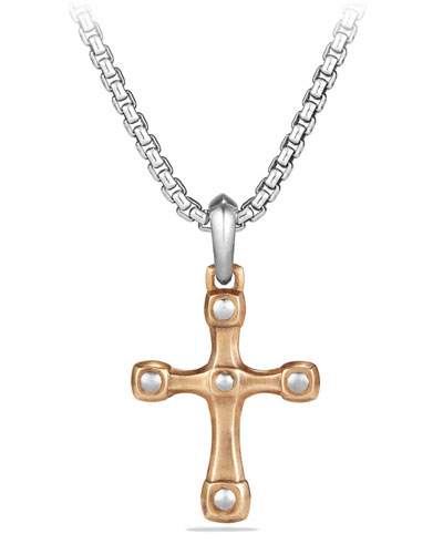 Men's 28mm Bronze & Sterling Silver Anvil Cross Pendant