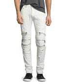 Radburn Patchwork Distressed Biker Jeans, White