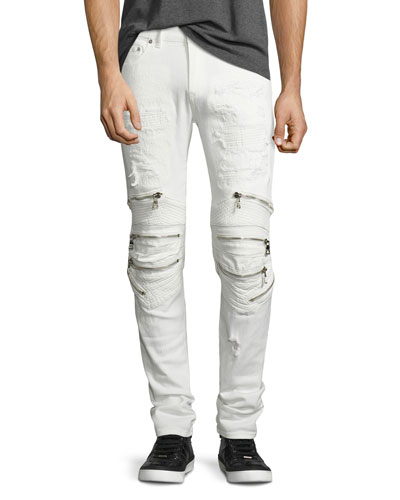 Radburn Patchwork Distressed Biker Jeans, White