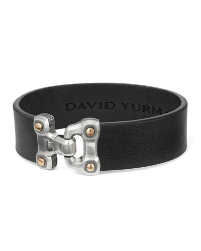 Men's 18.5mm Anvil Wide Leather Bracelet, Black