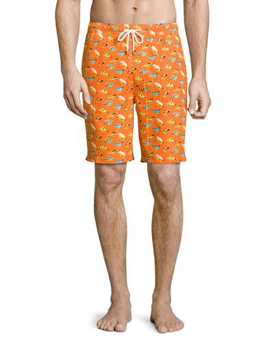 Fly Fishing Swim Trunks, Orange