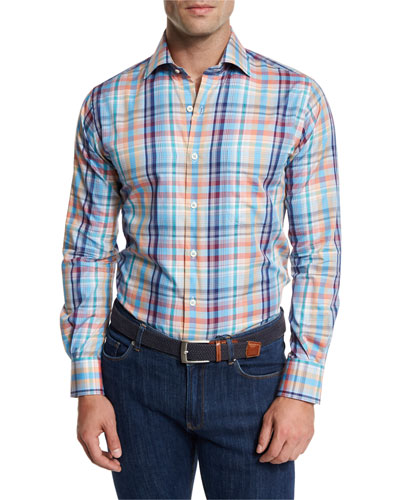 Sailing Plaid Woven Sport Shirt, Blue