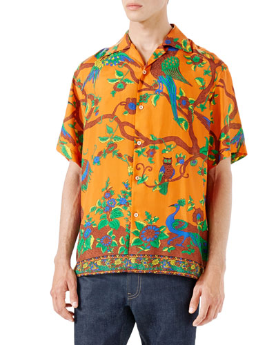 Jubilee Print Silk Bowling Shirt, Orange