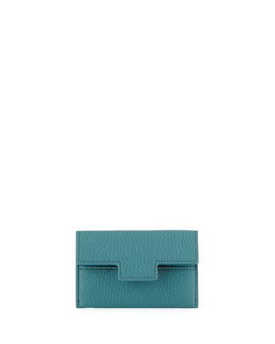 Fold-Over T Leather Card Case, Blue