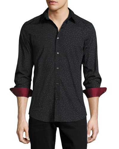 Match-Print Woven Sport Shirt, Black