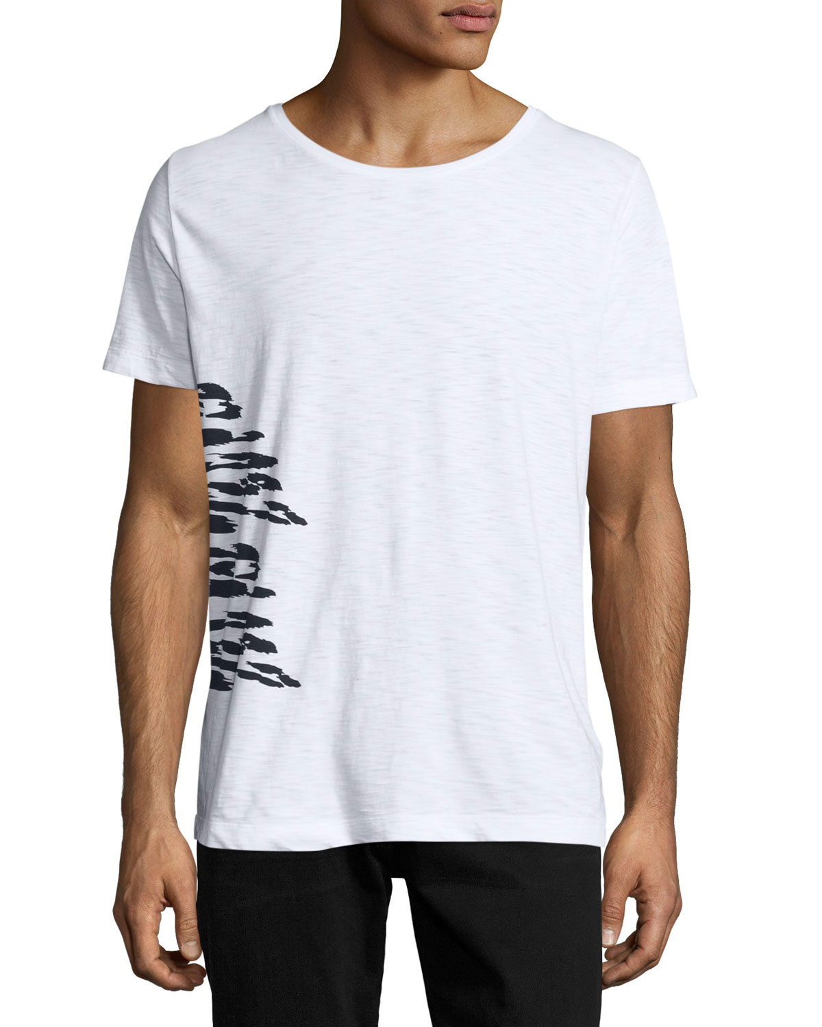 Animal-Print Slub T-Shirt, White