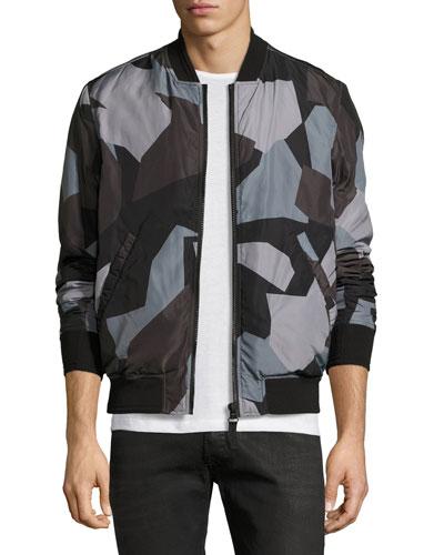 Geo-Print Bomber Jacket, Black