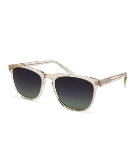 Barton Perreira Cutrone Polarized Classic Square Sunglasses, Clear Champagne/Poison