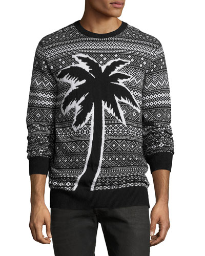 Palm Fair Isle Sweater, Black