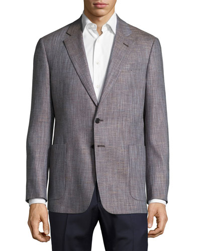 Solaro Crosshatch Two-Button Sport Coat, Brown