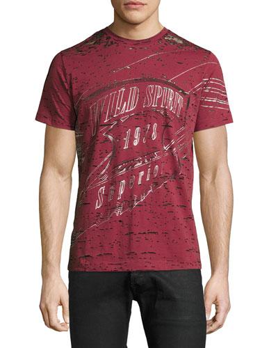 Wild Spirit Distressed Graphic T-Shirt, Red