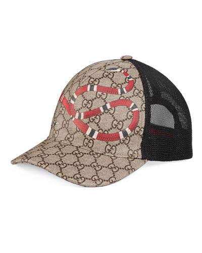 Snake-Print GG Supreme Baseball Hat, Brown