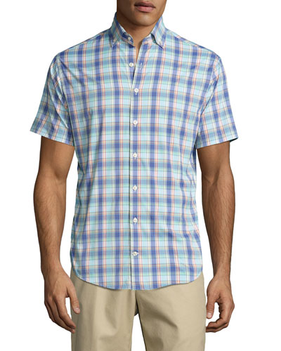 Cobra Performance Tattersall Short-Sleeve Sport Shirt, Seafoam