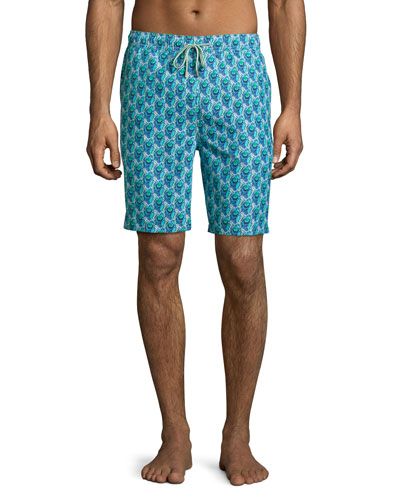 Peacock-Print Swim Trunks, Green