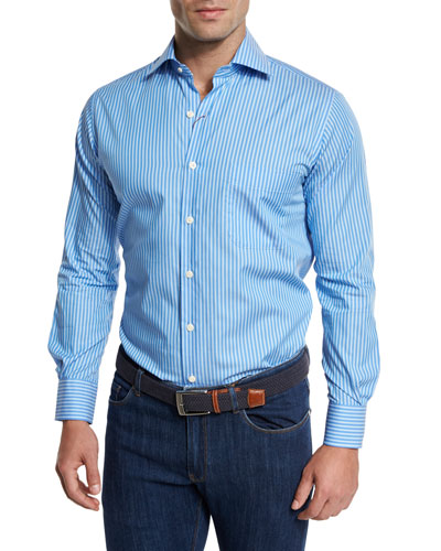 Holiday Striped Sport Shirt, Blue