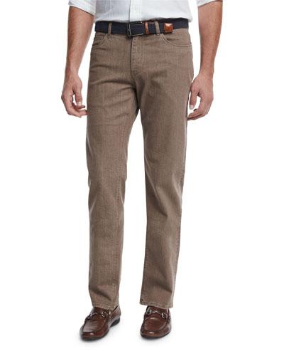 Straight-Leg Washed Denim Jeans, Copper/Bronze