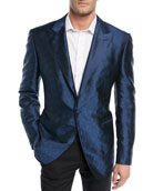Textured-Pattern Silk Dinner Jacket