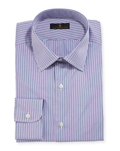 Gold Label Striped Dress Shirt, Purple/Gray