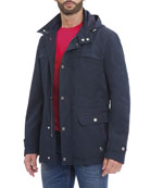 Hooded Wool-Silk Parka Jacket, Navy