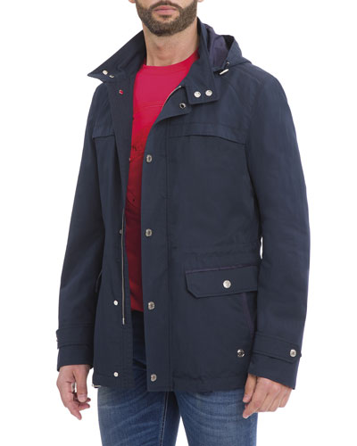 Hooded Wool-Silk Parka Jacket, Navy