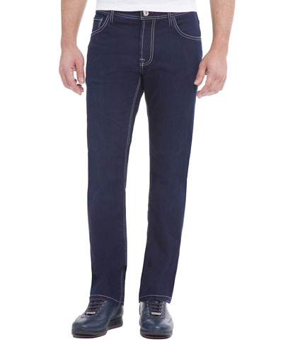 Contrast-Stitch Denim Jeans with Lizard Patch, Dark Blue