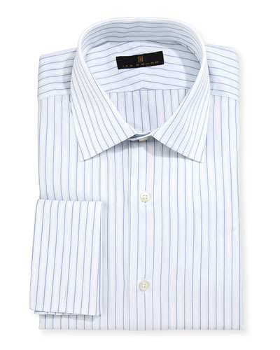 Gold Label Striped Dress Shirt, White/Blue