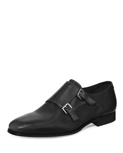 Leather Double Monk-Strap Loafer, Black